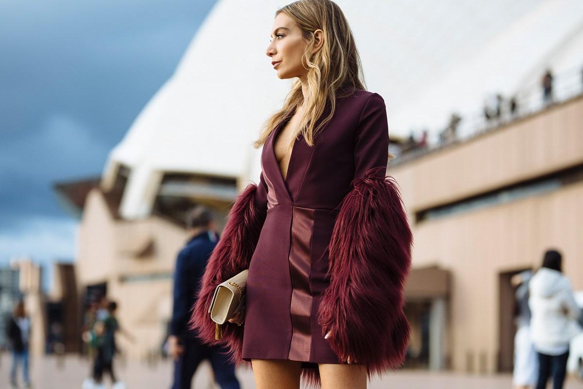 Nadia Bartel wearing Unreal Fur & Dion Lee