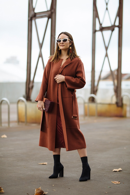 Beck Wadworth from @anorganisedlife wearing Jack & Jack coat, Bec & Bridge velvet, Lucy Folk clutch, Tony Bianco shoes and Sunday
