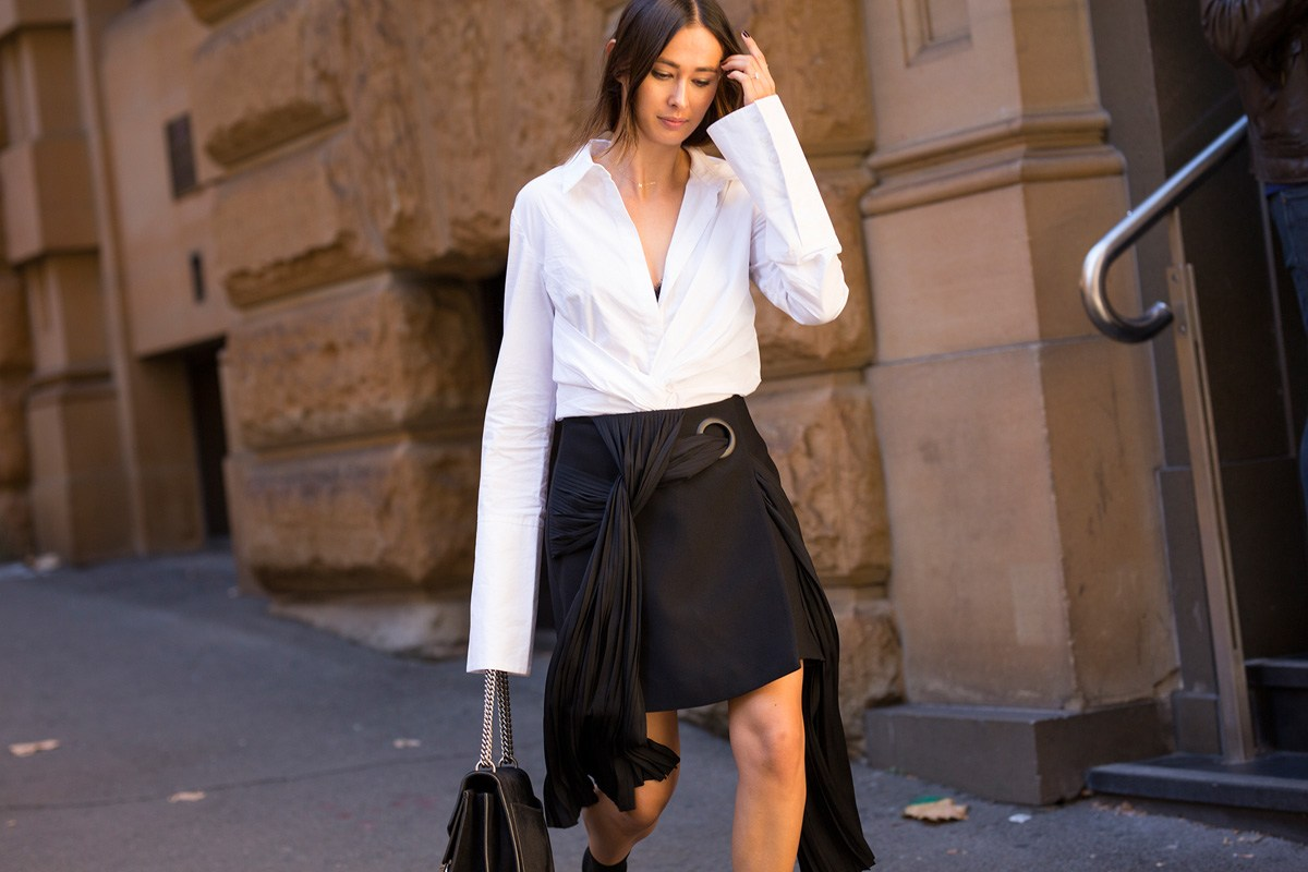Eleanor Pendleton wearing Acler skirt and shirt from Myer